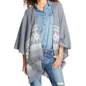 MOSSIMO tribal aztec print open front poncho AT7